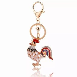 Colorful Crystal and Pearl Rooster on a Keychain